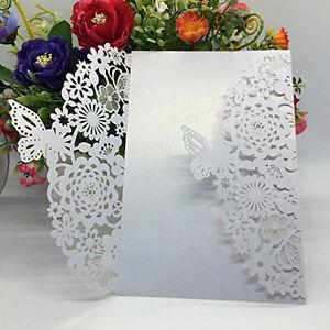 10-Pcs-Hochzeit-Party-Deko-Laser-Cut-Design-Einladungskarten-Einladung-set-Neu