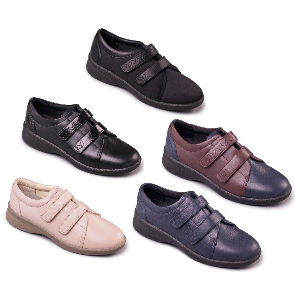 Mesdames Cuir Padders Doux Confortable Chaussures Large Eee/eeee Bracelet Fit Revivre 2 Confortable Et Facile à Porter