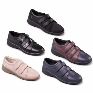 3fec943c12f LADIES LEATHER PADDERS SOFT COMFY SHOES WIDE EEE EEEE STRAP FIT ...