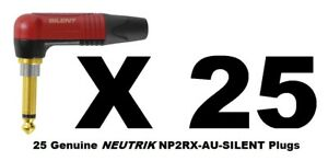 Lot-of-25-Neutrik-NP2RX-AU-SILENT-Right-Angle-SILENT-Plugs-with-Gold-Contacts