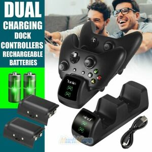 Dual Controller Charger LED Charging Dock Station w/ 2 Battery for Xbox One S X