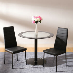 Small 90cm Black Round Tempered Glass Dining Kitchen Bar