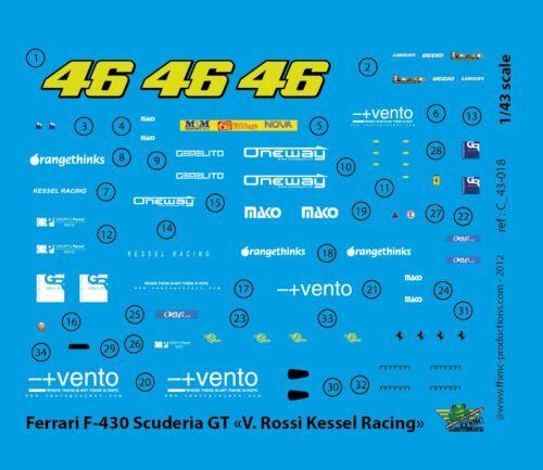 FFSMC Productions Aufkleber 1//43 Ferrari F-430 Scuderia GT Valentino