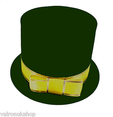 CUTE GREEN AND YELLOW TOP HAT NOVELTY RING / EARRING GIFT BOX - NEW