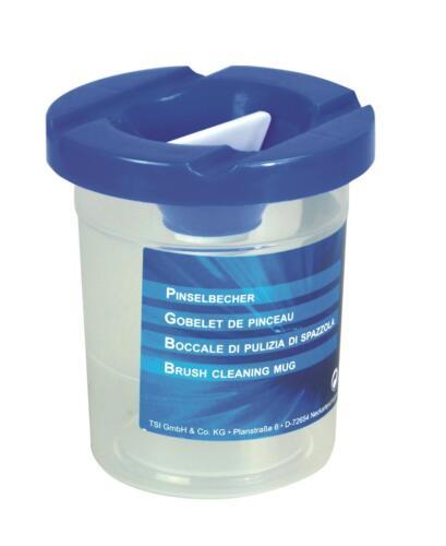 Pinselbecher mit Deckel und Auslaufschutz blau Farbe