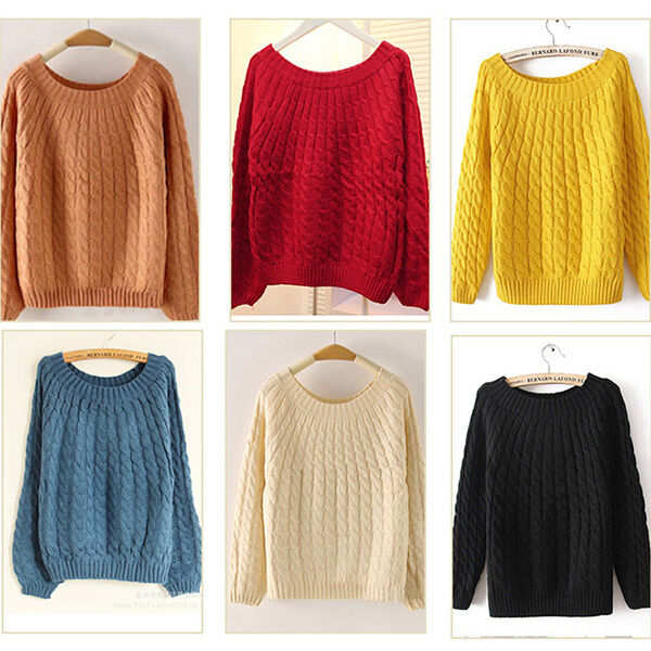 Korean Women's Round Neck Knit Pullover Sweater Casual Loose Coat Tops Knitwears