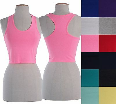 Sexy Sleeveless Sports Cropped Cami Tank Top Scoop Neck Racerback Yoga Shirt