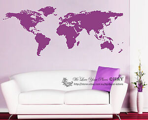World map wall art vinyl decal stickers home decor removable mural image is loading world map wall art vinyl decal stickers home gumiabroncs Gallery