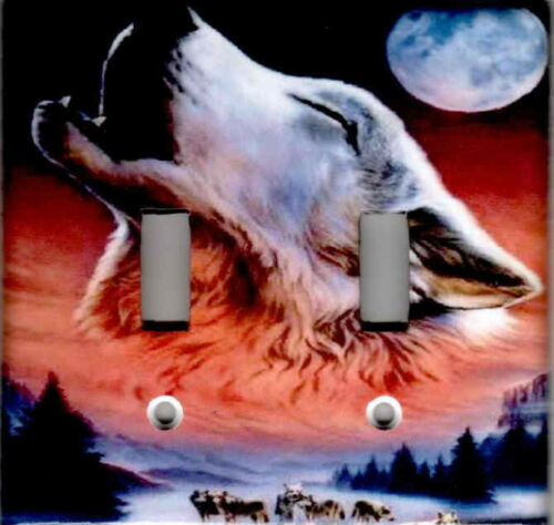 WOLF HOWLING - WOLVES HOME WALL DECOR DOUBLE LIGHT SWITCH PLATE