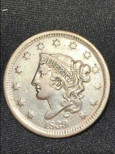 1839 Coronet Head Large Cent ,head Of 38, N-3 Redboik Variety Nice Eye Appeal