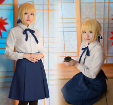 Fate Stay Night Saber Cosplay Tops+Bust Skirt Suit Cosplay Costume Set#PD-E-30