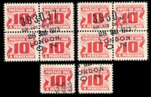 CANADA-POSTAGE-DUE-1969-J35-x10-2-BLOCKS-2-SINGLES-PERF-12-FINE-USED-NICE-LOT