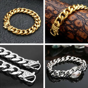 Heavy-316L-Stainless-Steel-Silver-Gold-Curb-Cuban-Mens-Chain-Bracelet-Bangle
