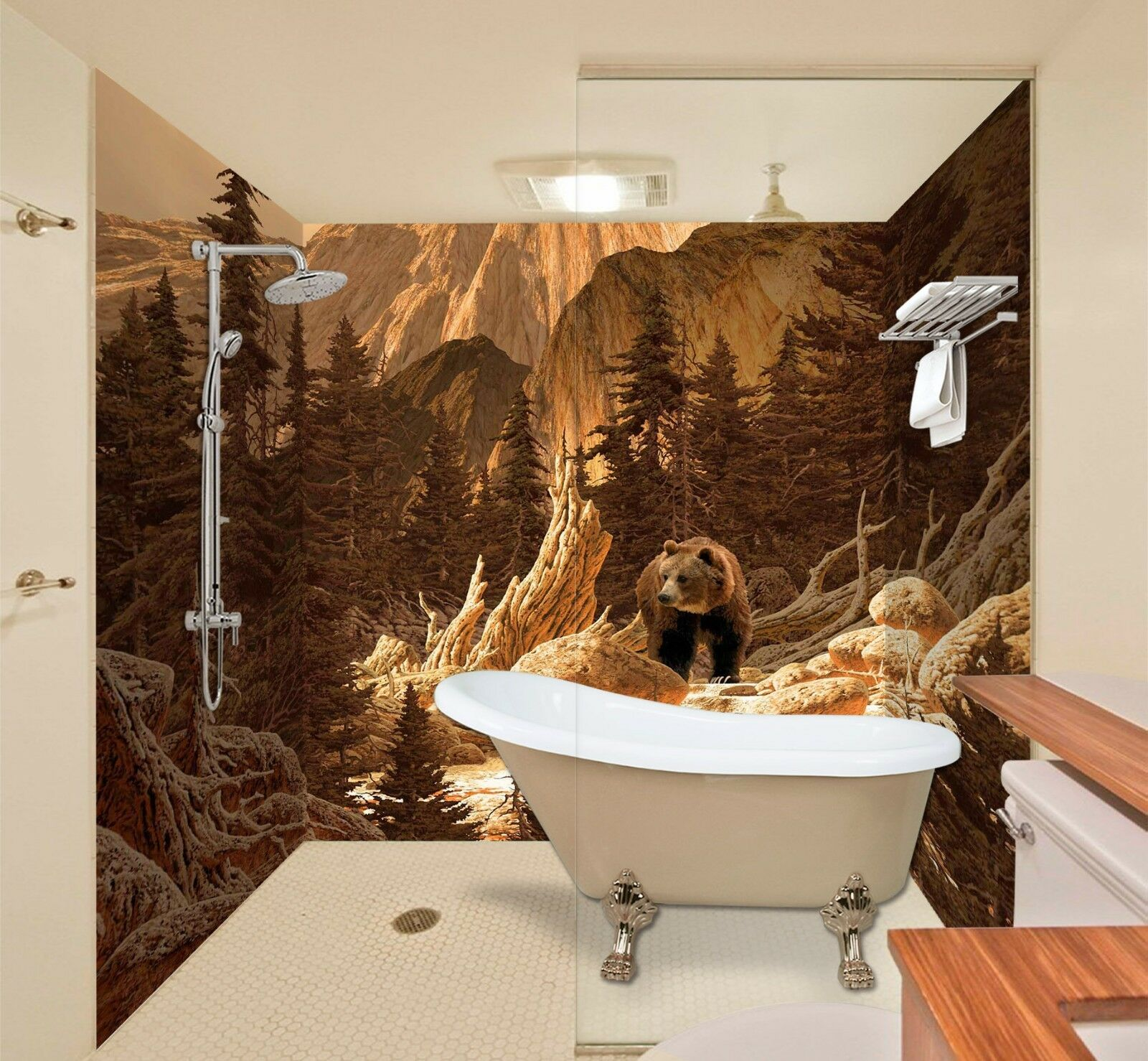 3D Jungle Bear Tree 57 WallPaper Bathroom Print Decal Wall Deco AJ WALL CA Carly
