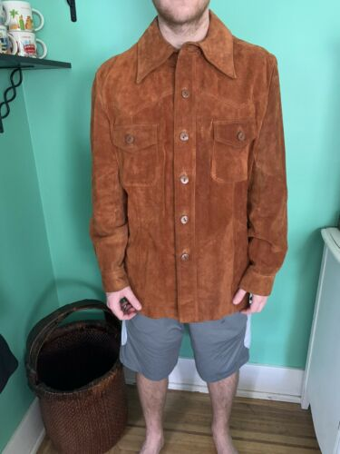 Vintage 70s Mens Cresco By Puritan Brown Suede Lea