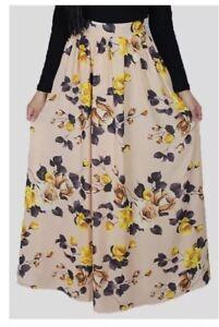 b66e5a91cf Abayati Fashion Tan Chiffon Floral Maxi Skirt EUC Size Medium   eBay