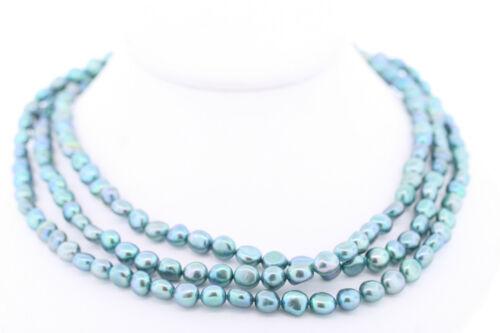 Honora Véritable Culture D/'eau Douce 7-8 mm Teint Bleu Sarcelle collier de perles 54 in environ 137.16 cm