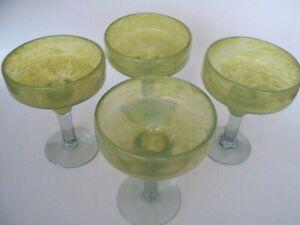 """4 Main Verre soufflé mexicain 6 1-4"""" Margarita verre gobelets Lime Green Tops-afficher le titre d`origine FZz98Pn9-09084805-477214689"""