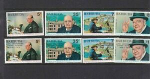 BRITISH-COLONIES-BARBUDA-1974-CHURCHILL-2-MNH-SETS-ONE-WITH-UN-OVERPRINT