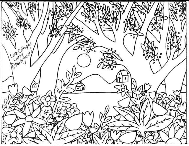 RUG HOOK PAPER PATTERN Lake Cottages FOLK ART ABSTRACT PRIMITIVE Karla Gerard