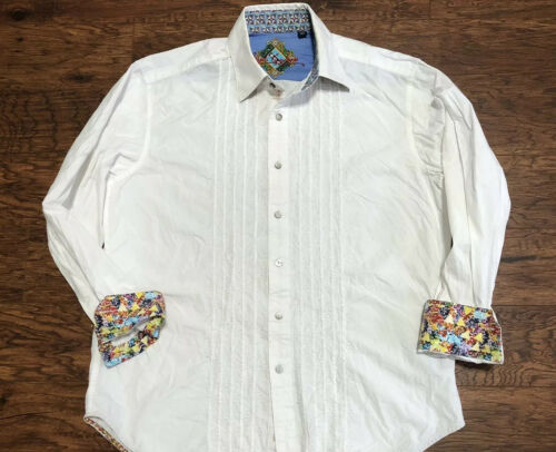 Men's Robert Graham Embroidered Ruffle White Abstr