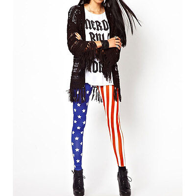 Sexy Women Leggings Stars Stripes USA American Flag Stretchy Tights Pants