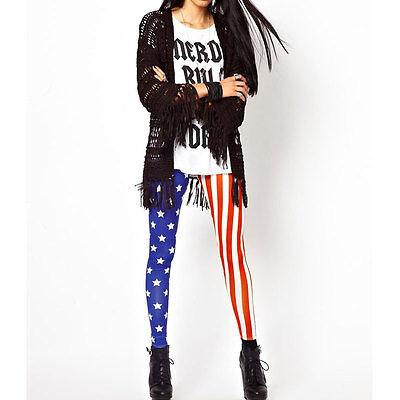 Sexy Women Leggings Stars Stripes USA American Flag Stretchy Tights Pants
