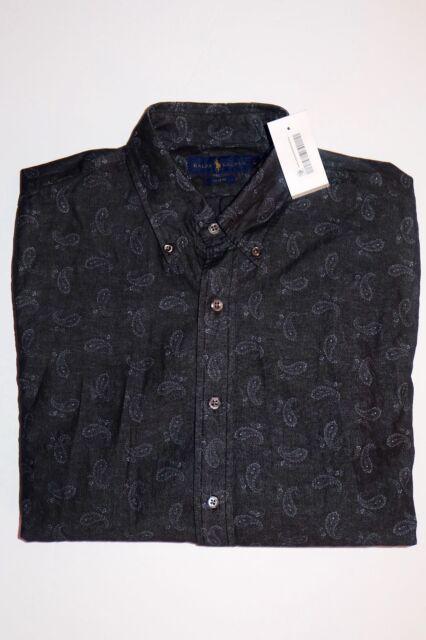 6380ede73e60d  198 NWT Polo Ralph Lauren Men s Slim Fit Paisley Print Chambray Sport Shirt