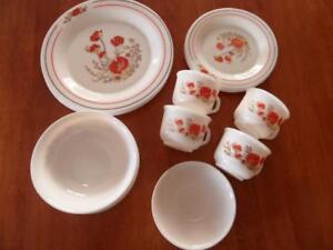 Vintage 20 piece French Arcopal Red Poppy Dinner Set | eBay