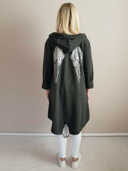 ITALY Damen Jacke Hoodies Kapuze Kapuzenjacke Engelsflügel Gr.44 46 dunkelgrün