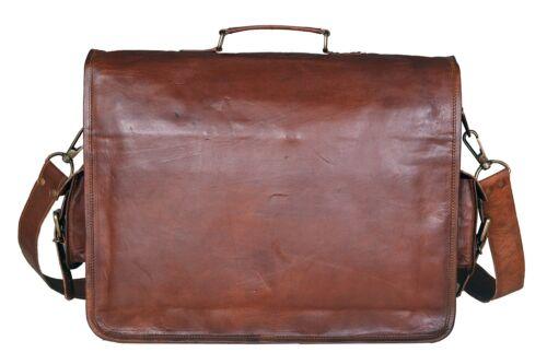 Men/'s Vintage Genuine Brown Leather Laptop Messenger Bag Shoulder Briefcase