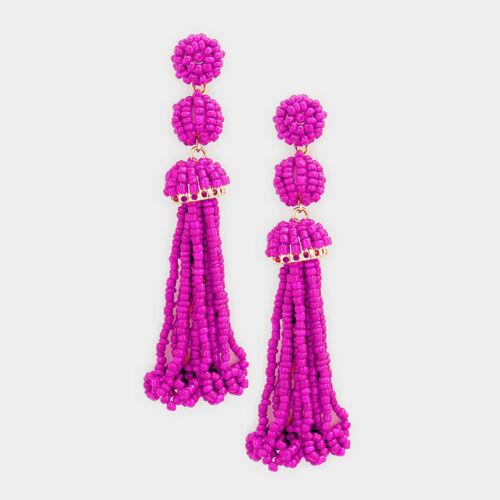 Designer Inspired 3 Tier Seed Bead Tassel Statement Earring Multiple Colors