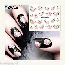 Nail Art Water Decals Stickers Pretty Summer Pink Green Flowers Gel Polish 8028