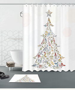 Retro-Christmas-Tree-100-Polyester-Bathroom-Shower-Curtain-Decor-Bath-Mat-Rug