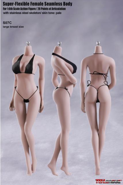 1/6 TBLeague Female Seamless Body Pale Large Bust S07C w/Steel Skeleton Phicen
