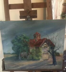 Vintage-Barn-Impressionist-Oil-Painting-On-Canvas-20-X-24-Unframed-Unsigned