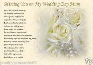 Image Is Loading Mum Missing You On My Wedding Day Laminated