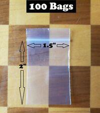 100 Clear Zip Seal Top Lock Plastic Bags 2mil 15x 2 Jewelry Pill Mini Baggies