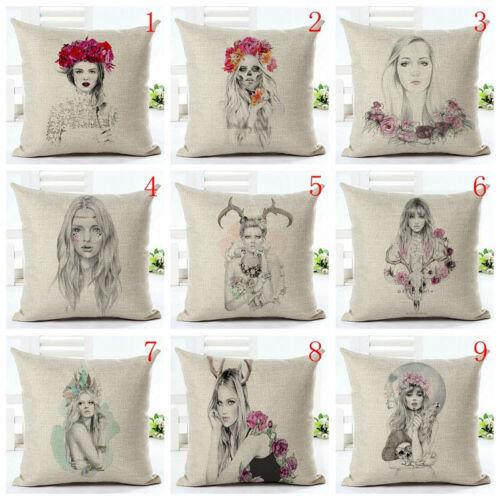 """18/"""" Beauty Girl Cushion Cover Pillowcase Sofa Home Decor Throw Pillow Cojin"""