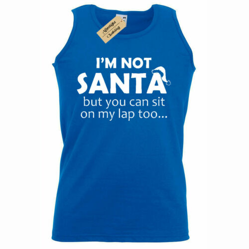 Mens I/'m Not Santa But You Can Sit On My Lap Christmas funny Tank Top Vest