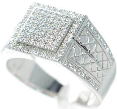 Hombres Plata Maciza 925 Anillo Diamante Simulado Size-3.4m