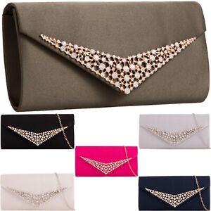 Women/'s Diamante Clutch Bag Faux Leather Envelope Handbag Ladies Cross Body Bags