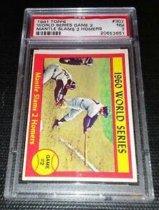 PSA 7 MICKEY MANTLE 1961 Topps #307 Graded Baseball Card HOF WORLD SERIES GAME 2