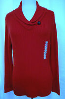 Jeanne Pierre Valentine Red Mini Shawl Collar Cotton Cable Pull Over Sweater Xl