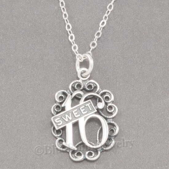 """SWEET 16 Sixteen Birthday Charm Pendant  925 STERLING SILVER 18"""" chain Necklace"""