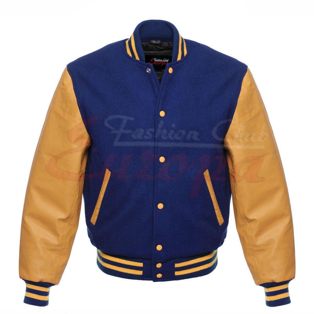 Premium quality Varsity männer  Royel Blau wollejacke with Gelb leder Sleeves