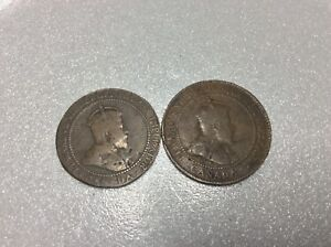 Two 1907 Canada One 1 Cent Penny Large Copper Circulated Canadian Coin Ebay