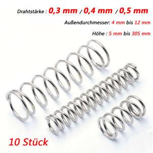10Stk Edelstahl Drahtstärke=0,5mm OD=4mm Druckfedern Federn Neu Stahlfedern