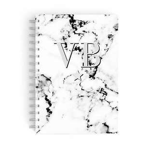 PERSONALISED NOTEBOOK A5 NOTEPAD PADS BOOKS INITIALS MONOGRAMMED MARBLE CUSTOM