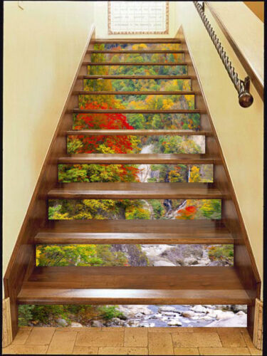 Details about  /3D Color Mountain 5 Stair Risers Decoration Photo Mural Vinyl Decal Wallpaper UK
